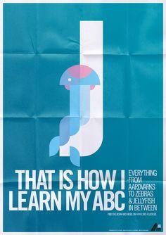Animal alphabet, a sneak preview by Bart De Keyzer, via Behance J is for Jellyfish.