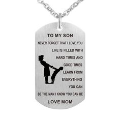 Dad Mom To Son Dog Tag Necklace Military Mens Jewelry Personalized Custom Dogtag