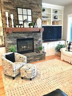 Love the fireplace decor and Traditional Living Room Design Fireplace Built Ins, Home Fireplace, Fireplace Remodel, Living Room With Fireplace, Fireplace Design, Off Center Fireplace, Fireplace Ideas, Stone Fireplace Decor, Rustic Mantle Decor