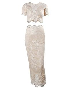 Kranda® Womens Lace Overlay 2 Piece Set Bodycon Party Midi Dress (FBA)  List Price: $89.99 Sale Price: Buy Now: $29.99