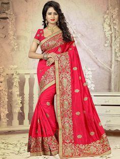 Charming Red and Gold Embroidered Festive Art Silk Saree #sarees #weddingsarees #festivesarees #silksarees #zariworksarees