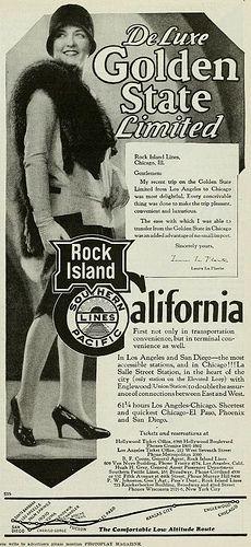 Rock Island Lines Railroad with Laura La Plante - Photoplay April 1929