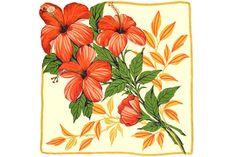 RETRO HANKIE Hibiscus Label 4 Giant Orange Blooms by CUSHgoods