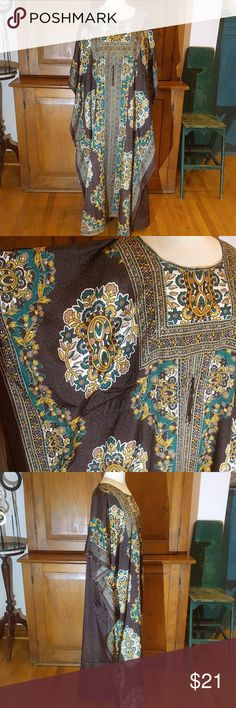 Fabulous for Fall Kaftan I don't get many Kaftan's in this color combination. Perfect for the Autumn Season and Anytime this is a beautiful Caftan that will make an amazing additional to your wardrobe. Rich Brown with Forest Green and Golden Floral Design and Golden Sprinkles for some glam effects. Drawstring at waist allows for a custom fit.   100% Polyester Make in India NF Dresses Maxi