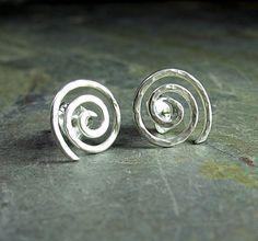 Hammered Spiral Studs in Sterling Silver - Sacred Spiral      ...from Lavender Cottage on Etsy