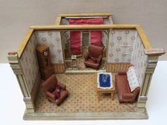 Alte Puppenstube mit Erker um 1900 Gottschalk ? Puppenhaus Salon Möbel Uhr Tisch in Antiquitäten & Kunst, Antikspielzeug, Puppen & Zubehör, Puppenstuben & -häuser, Original, gefertigt vor 1970 | eBay