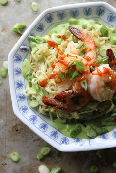 Stir Fried Rice Noodles with Shrimp and Green Onion Vinaigrette