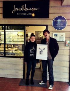 "We love getting a visit from one of our lucky winners! Here Damara Pearl is, outside the studio, collecting her J.R.R. Tolkien-inspired art print ""An Unexpected Journey"" with Halfdan Hansen."