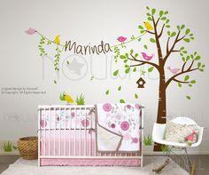 Wandtattoo - Birdie Baum Wandtattoo Kinderzimmer mit benutzerde - ein Designerstück von popwall bei DaWanda