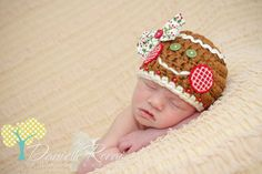 Newborn Gingerbread Hat - Holiday Hat - Photo Prop - Baby Girl.