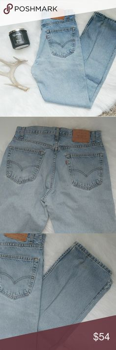 """Vintage High Waisted 505 Levi's This pair of vintage light washed Levi's is in good preworn condition. They have that nice worn in look and feel. They are some light stains which can be seen in photos. Similar in fit to Levi's 501, 550, 519, 512.  Flat measurements Waist: 17"""" Rise: 12"""" Inseam: 32"""" Levi's Jeans"""