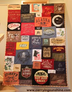 Old t-shirt quilt. Love this idea!! I have been saving all my boys super hero t-shirts from toddler on to make them all one ;-)