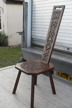 Late 19th century carved oak high back spinning chair