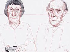 David Hockney Margaret and Ken. Bridlington 2002 ink on paper, 12 1/4x16 1/4 in.