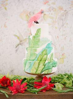 Tropical inspired cake! http://www.stylemepretty.com/2015/07/14/authentic-colorful-cuban-wedding-inspiration/   Photography: Jose Villa - http://josevilla.com/