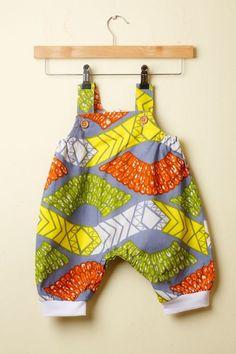 Grey, Orange & Yellow Ankara Print Baby Romper. Baby clothes by Amedee.
