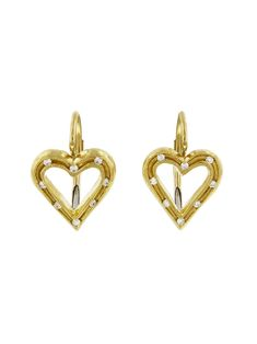 Cathy Waterman - Fairy Lights Heart Earrings - Yellow Gold Handcrafted in yellow gold. Detailed in diamonds. Hearts measure across and long. Finished with lever backs. Diamond Heart, Heart Ring, Bold Jewelry, Cathy Waterman, Hanging Earrings, Heart Earrings, Fairy Lights, Diamonds, Hearts