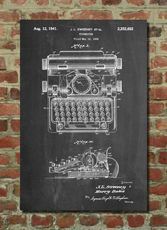 Typewriter Poster, Typewriter Patent, Typewriter Print, Typewriter Art, Typewriter Decor, Typewriter Wall Art, Typewriter Blueprint by PatentPrints on Etsy https://www.etsy.com/listing/227429163/typewriter-poster-typewriter-patent