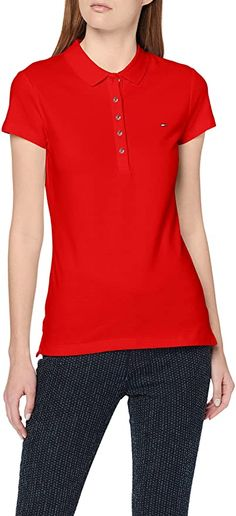 Tolles zeitloses Polo T-Shirt  Bekleidung, Damen, Tops, T-Shirts & Blusen, Poloshirts Middle Aged Women, Tommy Hilfiger Damen, Shirt Bluse, Spring Summer, Slim, Sleeves, Mens Tops, Fashion, Casual Fall Fashion