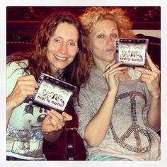 "Pia Douwes (Diana) & Sabrina Weckerlin (Natalie) just got their copies of the German Cast Recording of ""next to normal"" during the rehearsal for the CD-Release-Concert at the Stadttheater Fürth"