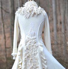 Custom long white Sweater coat for Eva. Winter by amberstudios