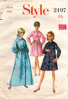 73e9d324c832 Style 2197 Womens Flared Robe   Housecoat 60s Vintage Sewing Pattern Size  SMALL 8 - 10. Susan Polichak · sewing · Butterick 5324 Womens Zip Front  Jumpsuit ...