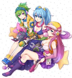 3girls alternate_costume alternate_hair_color blitzcrank blue_eyes boots breasts bubble_blowing character_doll chewing_gum cleavage game_boy green_hair gun hair_ornament hair_over_one_eye handheld_game_console hat headphones hecarim high_heels highres horn jewelry knee_pads konomoto_(knmtzzz) league_of_legends legs_crossed long_hair looking_at_viewer multiple_girls necklace open_mouth ponytail riven_(league_of_legends) sarah_fortune sitting sona_buvelle staff star star_hair_ornament…