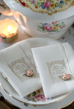 Perfect Tea Time Napkins with Matching Pretty Pins for Your Guests to Wear...How Sweet!