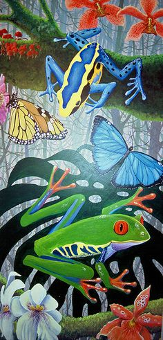 Tropical Rainforest: Frogs, Butterflies and Orchids Painting by Floyd Muad'Dib Rainforest Butterfly, Rainforest Animals, Forest Mural, Elementary Art Rooms, Caribbean Art, Frog Art, Butterfly Drawing, Tropical Forest, Frog And Toad