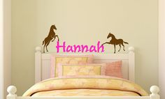 Horse wall decal girls name wall decal childs by aluckyhorseshoe