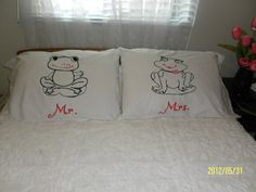 Mr. & Mrs. Frog Hand Painted, Standard, Couples Pillow Cases, Bedroom Decor by TreasuresShop on Etsy