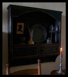 Primitive pewter cupboard, wall shelf