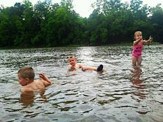 The kids at the river