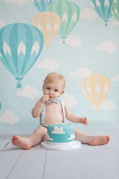 Hot air balloon first birthday balloon birthday by ShopLilSquirts
