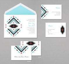 2013 Wedding Invitation Trend - Southwestern-inspired Tribal Design Invitation (Invitation Link - http://www.occasionsinprint.com/pinterest-board---2013-wedding-invitation-trends.html)