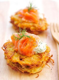 Smoked Salmon On Potato Rosti, perfect for Easter brunch.