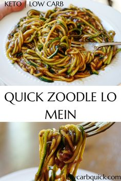 Easy keto zucchini noodle lo mein stir fry recipe with only a few ingredients an. Easy keto zucchini noodle lo mein stir fry recipe with only a few ingredients and a few minutes to make. The perfect Asian-inspired dinner idea, all keto and low carb! Stir Fry Low Carb, Bolo Vegan, Cena Keto, Diet Recipes, Healthy Recipes, Paleo Food, Low Carb Zucchini Recipes, Smoothie Recipes, Low Carb Vegetarian Recipes
