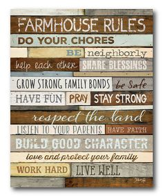 This 'Farmhouse Rules' Gallery-Wrapped Canvas by Courtside Market is perfect!