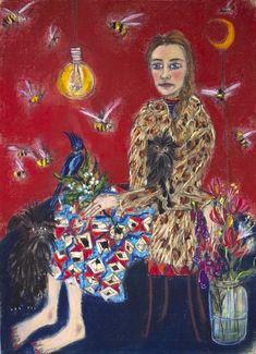 Portrait with Affenpinschers, Pastel on Paper, 50 x 70 cm 2017 Dog Comics, Mixed Media Photography, Brussels Griffon, Visionary Art, Outsider Art, Primitives, Dog Art, Sketchbooks, Journals