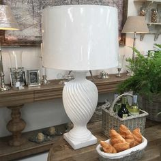 Distressed White Urn Finial Table Lamp with Shade
