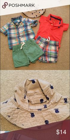 Summer outfit Carter's 4 piece 6 month summer set. Hat is Old Navy 3-6 month. Worn a few times. Good condition. Carter's Matching Sets