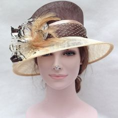 Newest Women's   Sinamay With  Feathers Small  Brim Adjustable  Hat, For Church, Wedding, Derby, Brown with Beige
