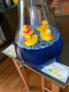 This Would Be A Cute Idea To Punch...Add Little Plastic Ducks To Your Favorite Blue Punch For A Boy Theme Baby Shower...