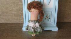 cloth doll green cloth miniature cloth doll 2.7 by GabYhandmade
