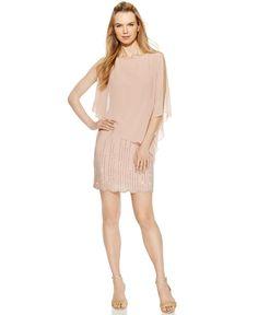 Xscape Embellished Chiffon Capelet Shift Dress