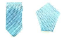 Mens Necktie Blue Striped 8.5 CM Necktie And Pocket Square. Wedding Tie.