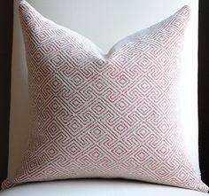 Greek Maze Decorative Chenille Pillow Cover -18x18-Designer Fabric-Throw Pillow-Accent Pillow Red-Cream-Geometric Print. $45.00, via Etsy.