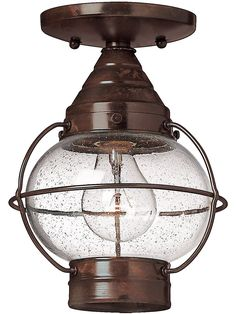 Cape Cod Flush Ceiling Light With Clear Seedy Glass | House of Antique Hardware