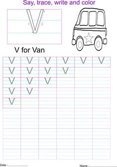 English capital letter 'V' worksheet Alphabet Writing, Preschool Alphabet, Letter Q Worksheets, Letter Of The Week, Letter V, Kindergarten Math, Parenting, English, Activities