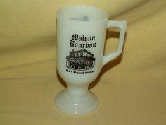NEW ORLEANS MUG WHITE MILK GLASS PEDESTAL IRISH COFFEE MAISON 641 BOURBON STREET